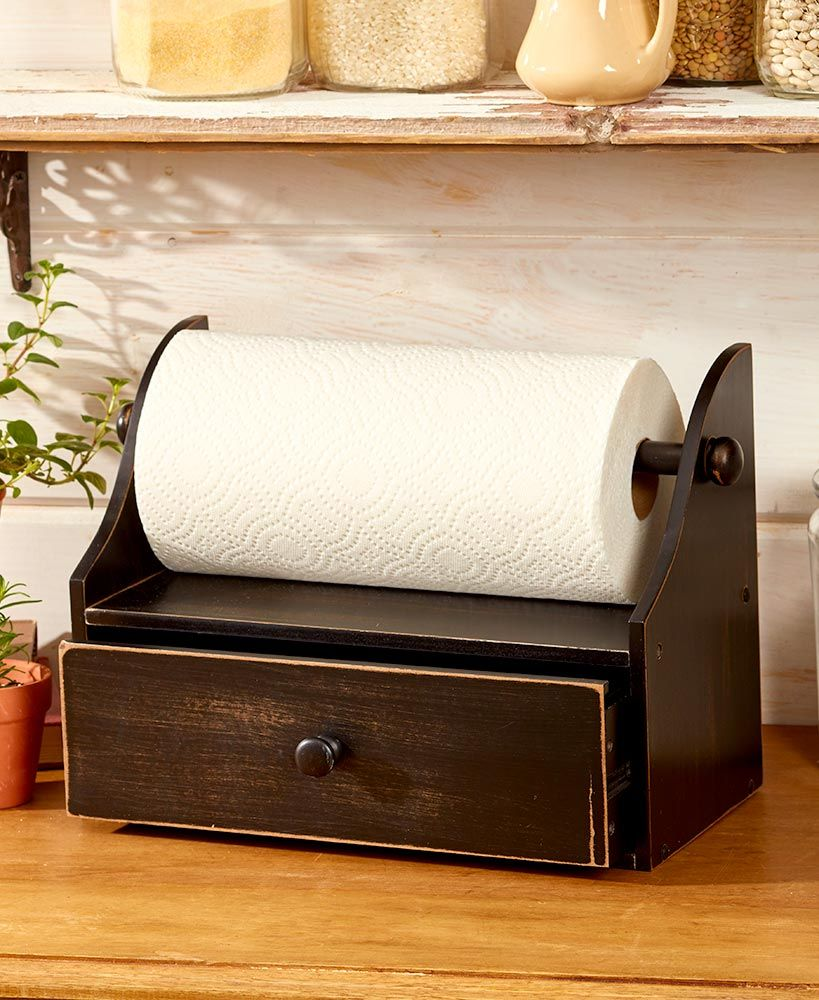 Rustic Paper Towel Holder With Storage In 2019 Paper Towel