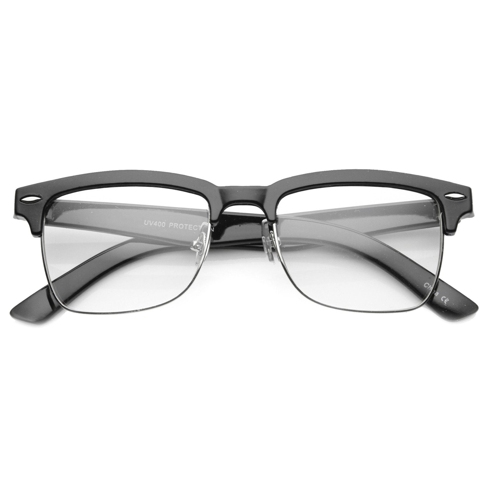 d20c750dfd Vintage Hipster Dapper Indie Half Frame Clear Lens Glasses 9810 ...