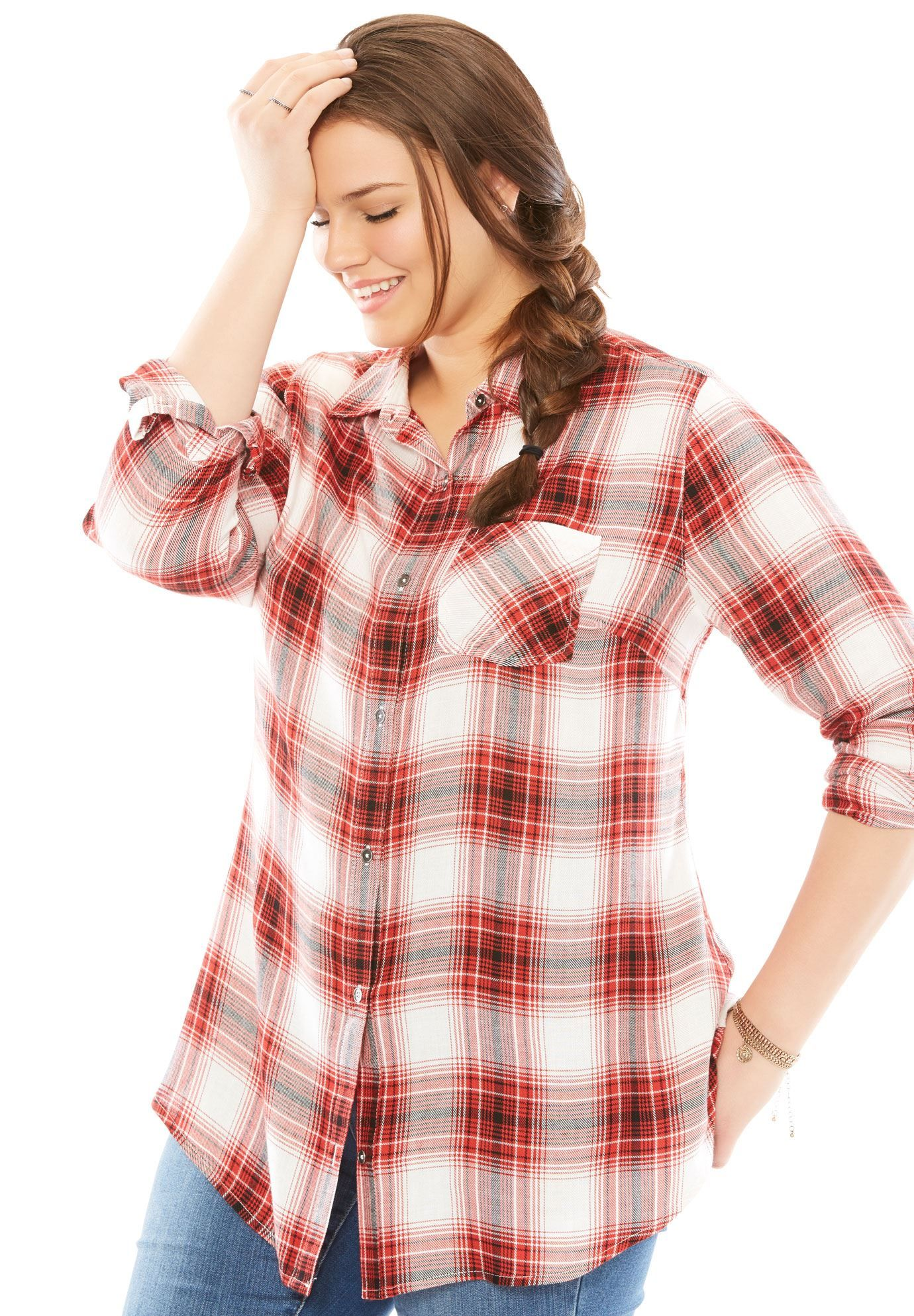 Long sleeve plaid shirt womenus plus size clothing products