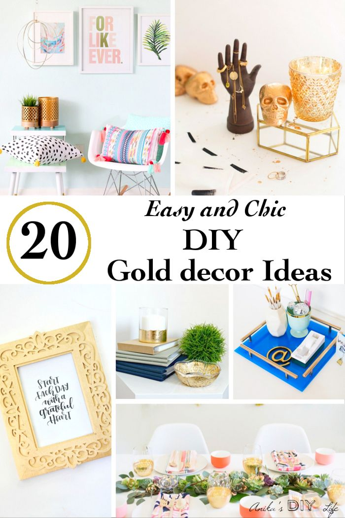 20 Chic DIY Gold Home Decor Ideas Gold, Diy craft projects and Craft