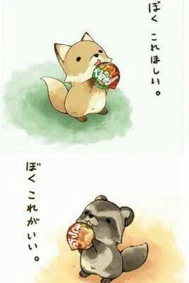 キツネとタヌキ 可愛い ストーリー, 森の動物たち, キュートなスケッチ, 日本