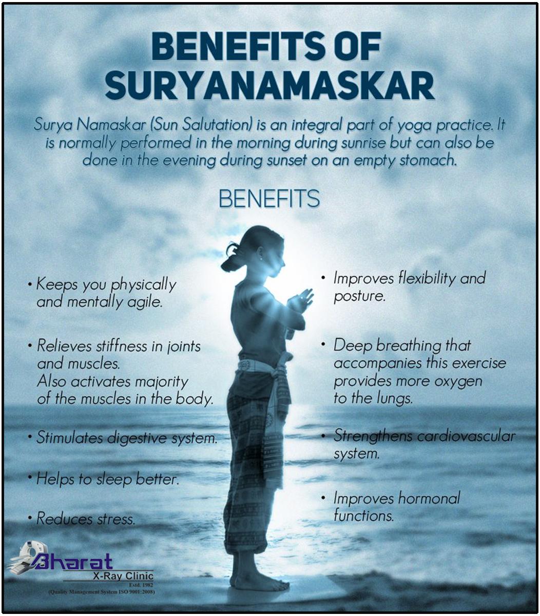 Health Benefits Of Surya Namaskar Suryanamaskar Sun Salutation Bharatxrayclinic Surya Namaskar Yoga Benefits Meditation Benefits