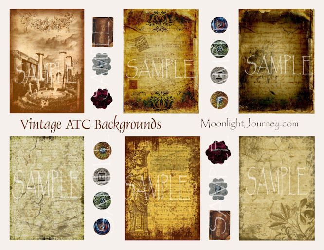 Vintage ATC Backgrounds Collage Sheet