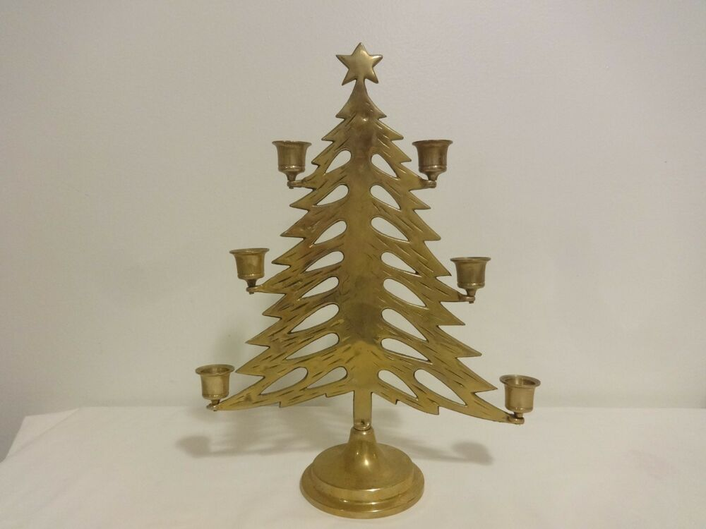 Vintage Brass Christmas Tree Candle Holder.Vintage Brass Christmas Tree Candle Holder Vintage