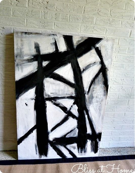 Diy black and white abstract art you can make with your for Black and white wall painting
