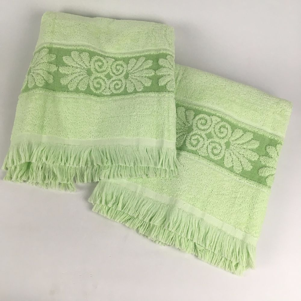 "Mint Green Bath Towels Fair 2 Vtg 42"" Bath Towels Cannon Monticello Mint Green Fringe Scroll"