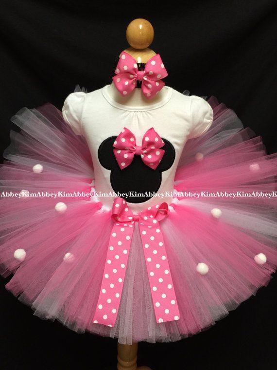 Tutu De Minnie Mouse Set Pompones De Silueta Rosa Por