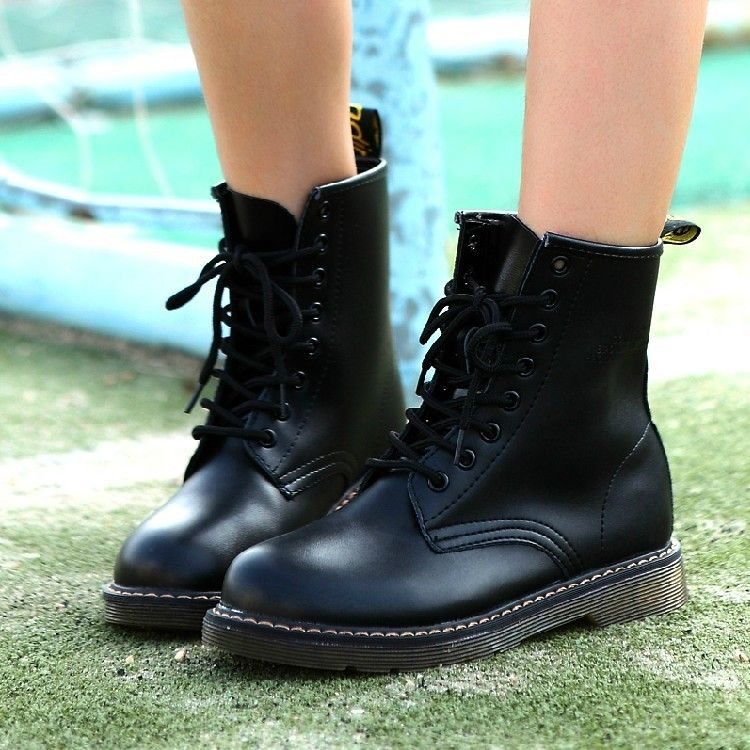 Leather Flat Heel Round Toe Cross Strap Dr.Martens Boots