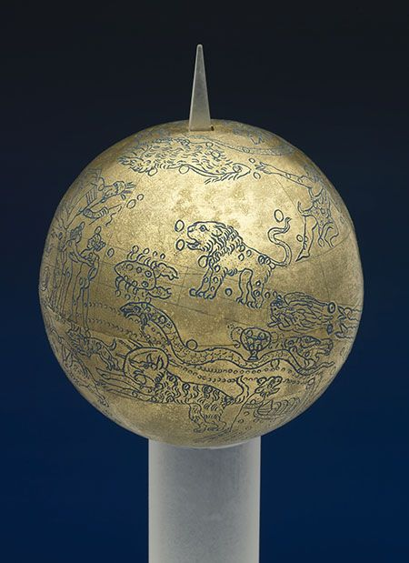 Roman celestial globe, 2nd century A.D. Replica of the original Mainz, Römisch-Germanisches Zentralmuseum, inv. 42695D  This globe shows the 48 constellations known to the ancients, plus the circles of the solstices and of the equinoxes. It also has the oldest known representation of the Milky Way.