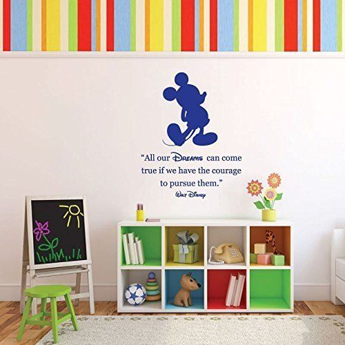 """Walt Disney was a dreamer whose influence if felt throughout the entire world. This vinyl wall decal celebrates the life and ideals of Walt Disney and includes the figure of one of his most famous creations: Mickey Mouse. This inspirational wall lettering reads, """"All our dreams can come true if we have the courage to pursue them."""" Place this decal in your kid's bedroom, playroom, or nursery, or put it up in a school classroom to motivate students."""