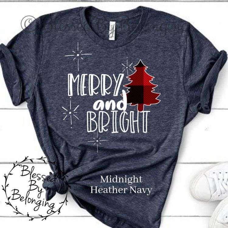 2d1be73d Merry and Bright Christmas Tshirt for Women Cute Holiday | Etsy | me ...