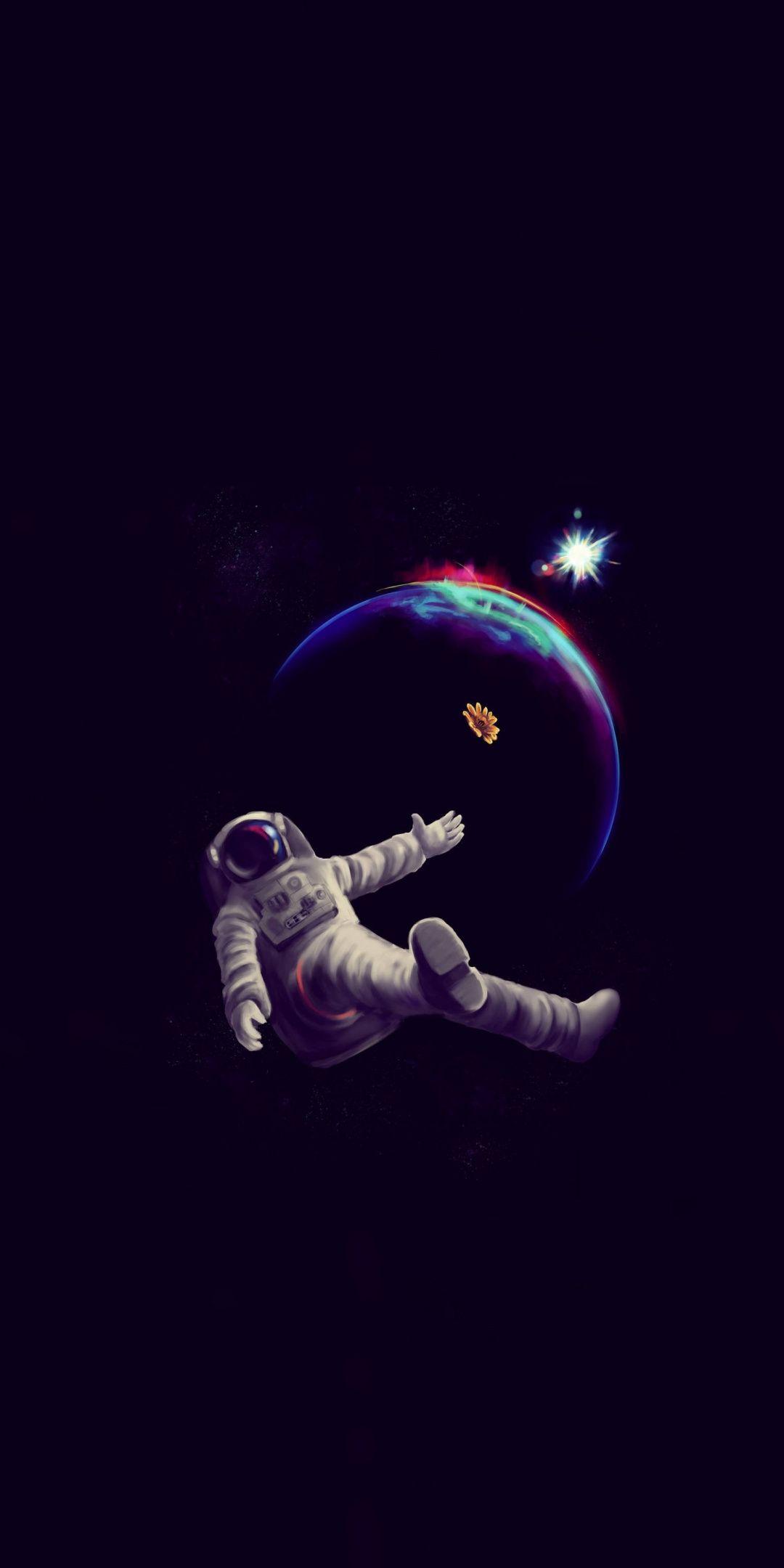 astronaut, dark, minimal, 1080x2160 wallpaper