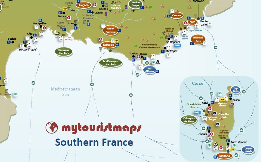Map South Of France.Interactive Tourist Map Southern France Mytouristmaps Com France