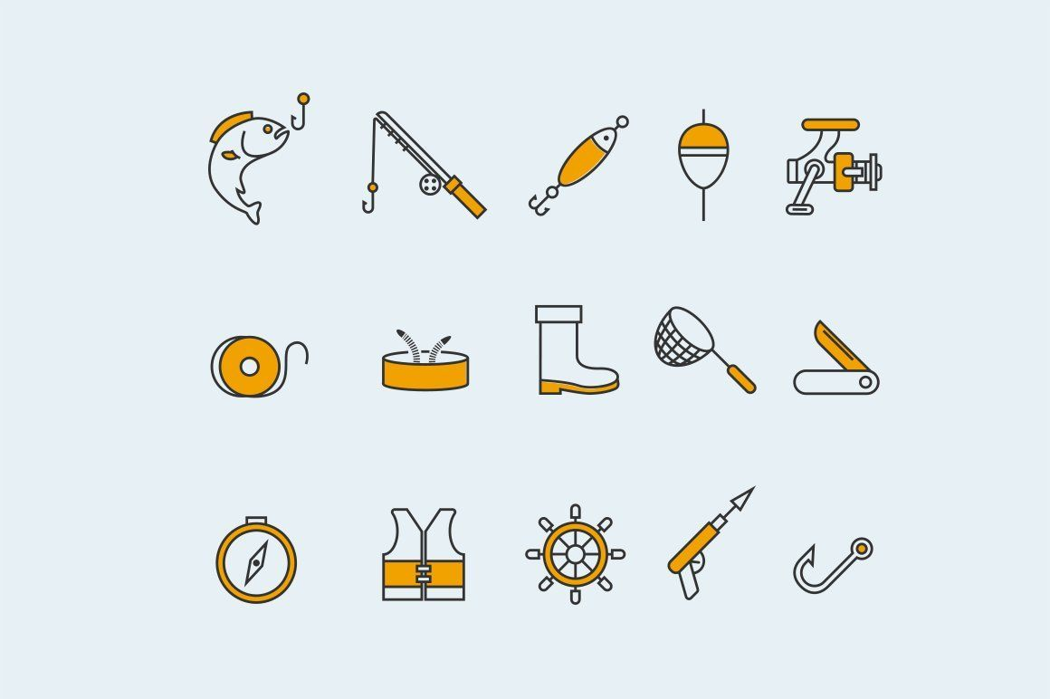 15 Fishing Icons Icon Webpage Design Hand Drawn Icons