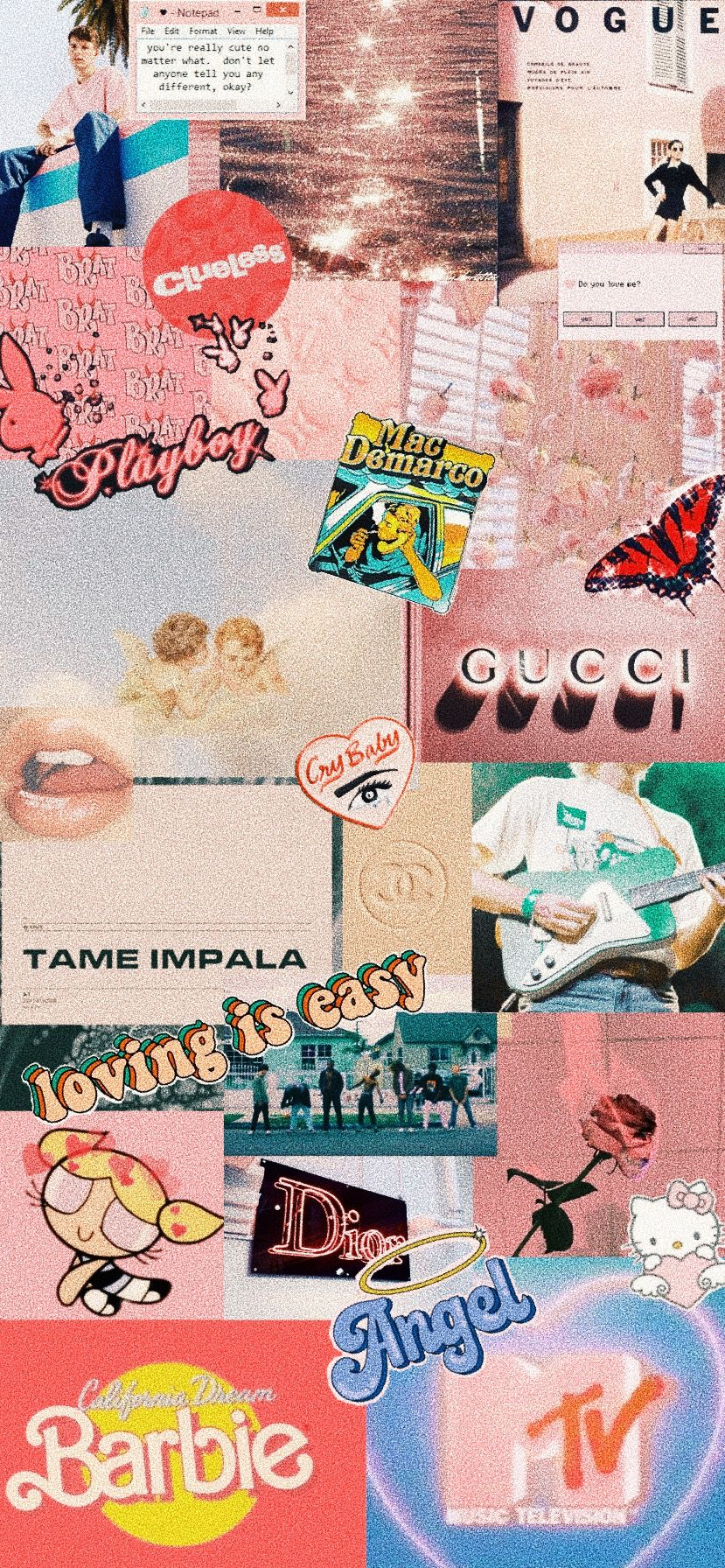 Retro Vintage Aesthetic Collage Wallpaper Iphone X Xr Xs Iphone 10 11 Pink Y2k 90s Rex Orange In 2020 Pink Wallpaper Iphone Aesthetic Iphone Wallpaper Kitty Wallpaper