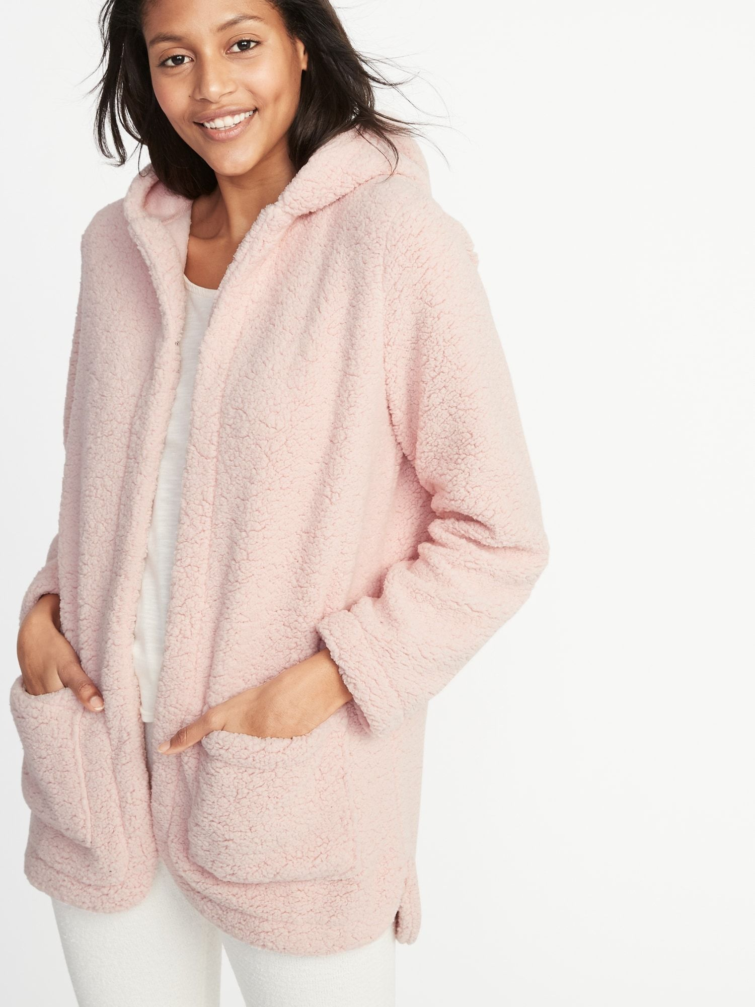 Hooded OpenFront Sherpa Sweater for Women Old Navy