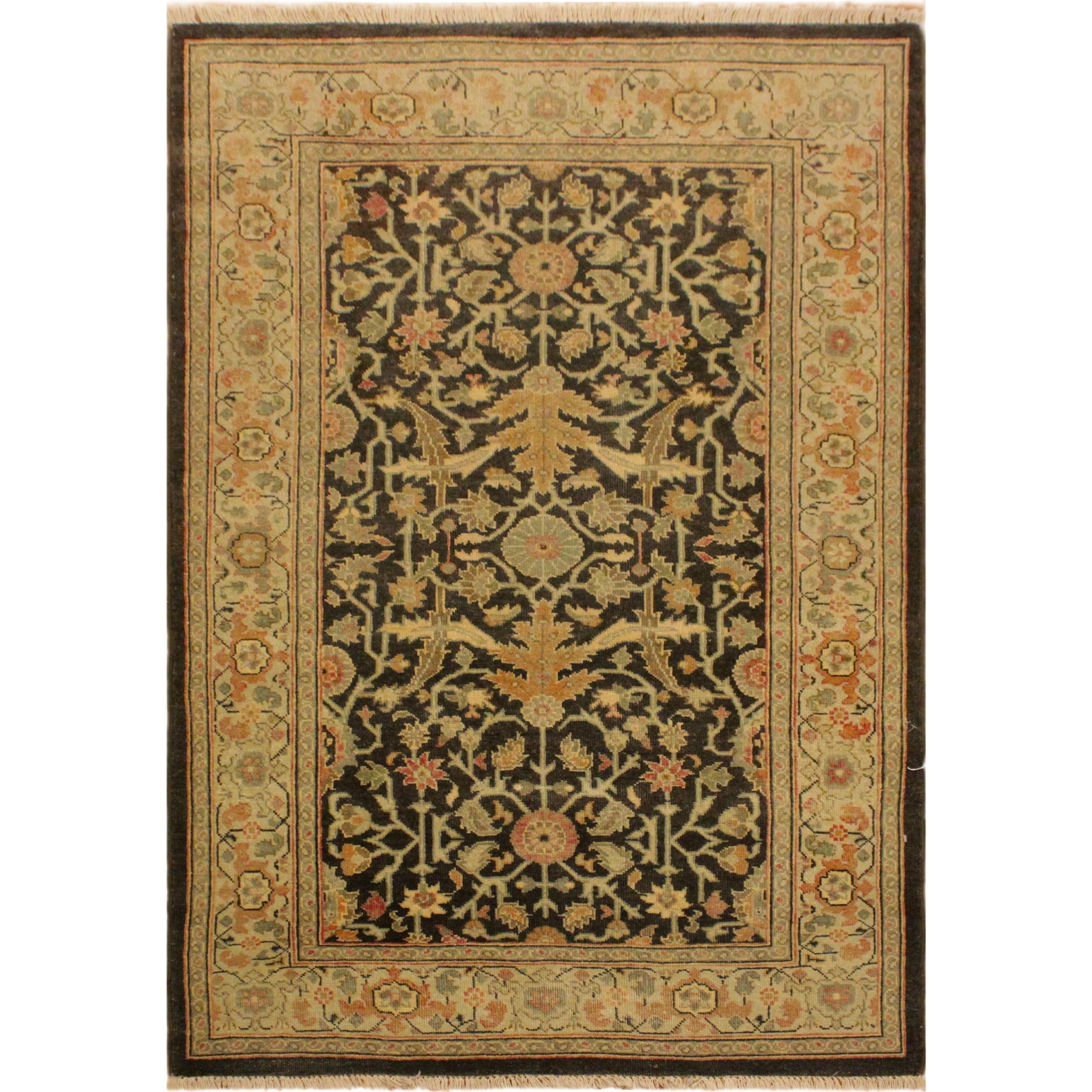 Antique Vintage Low Pile Sharonda Green Tan Wool Area Rug 3 1 X 4 10 Green 3 1 X 4 10 Arshs Fine Rugs 3 X 5 Wool Area Rugs Area Rugs Rugs
