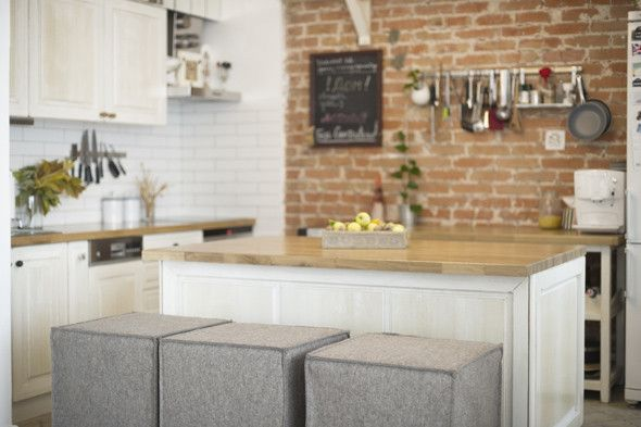 kitchen Our Flat Pinterest Brick wall interiors, Bricks and Lofts