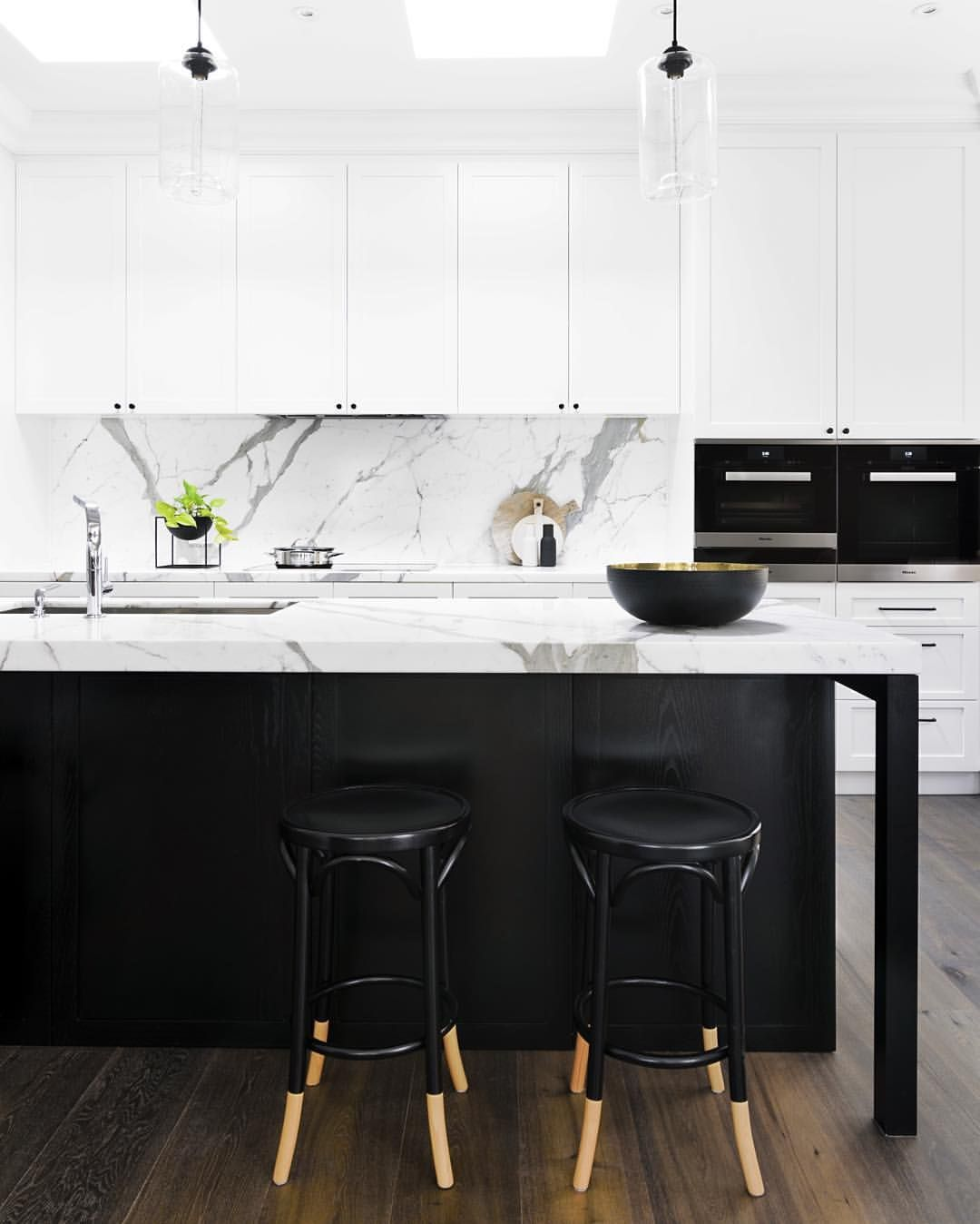 black and white kitchen cupboards. Calacatta Oro marble kitchen island bench at PRK Residence  one of our recently completed residential projects Pin by Mackenzie Young on Home Decor Pinterest Kitchens