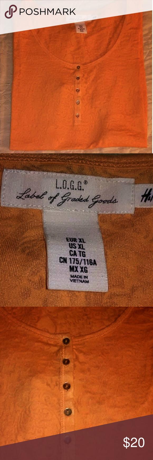H&M L.O.G.G. XL Peach burn-out style S/S Top | Tops, Style ...