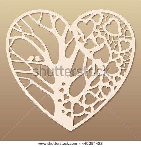 Openwork heart with a tree inside. Laser cutting template for ...