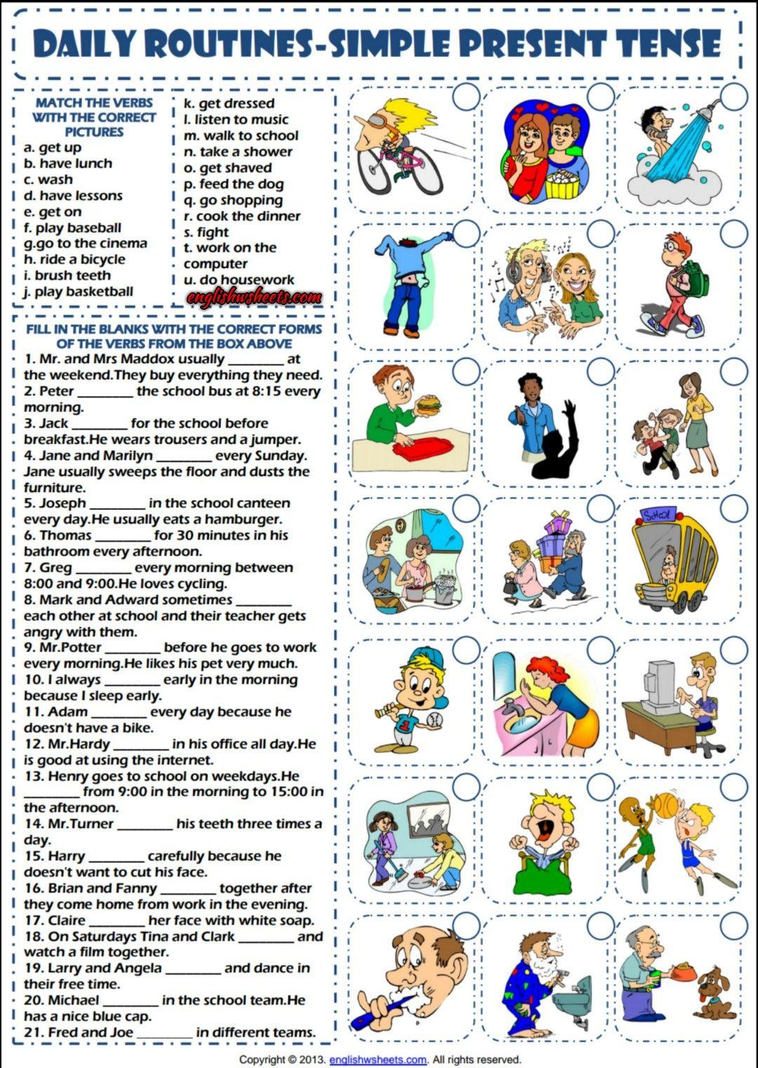 Daily Routines Simple Present Tense Esl Worksheet Education
