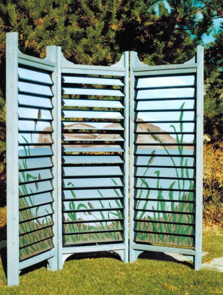 paravent de jardin design de style japonais avec lames orientables ...