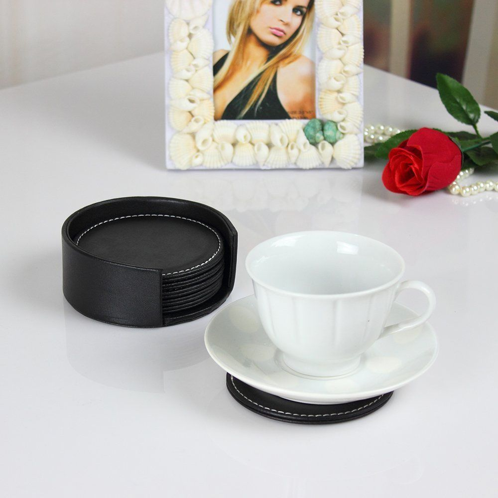 6pcs Office Desk Decor Meeting Cup Mat Pu Leather Drink Tea Coaster Round Square Tea Coaster Office Desk Decor Serving Set