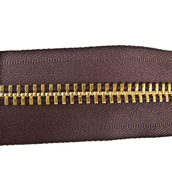 Zipper,Tape,Brown/Brass,#10,Ft