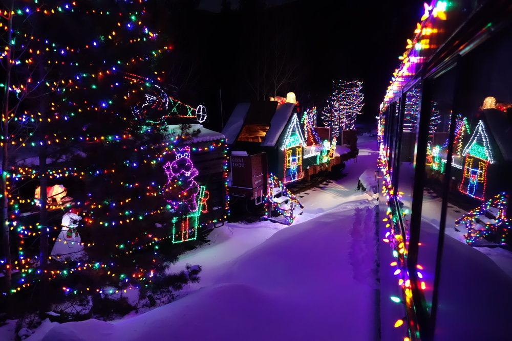 This Stunning Photo Features The Georgetown Loop At Night During The Santa S Lighted Forest Train Th Colorado Travel Train Rides In Colorado Colorado Vacation