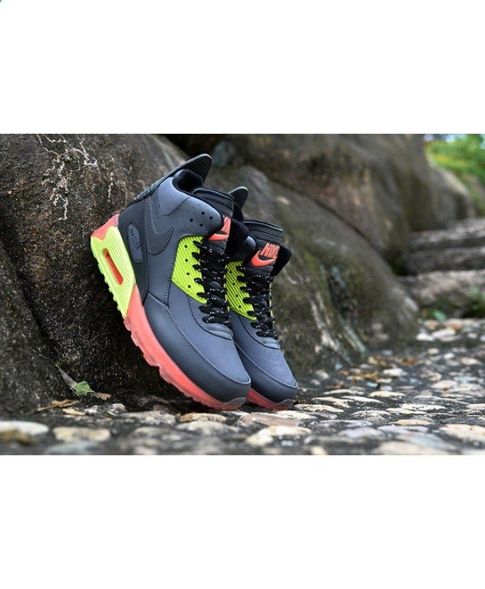 brand new e62a0 9f7b5 Homme Nike Air Max 90 Winter Sneakerboot Ice Noir Vert Rose Chaussures