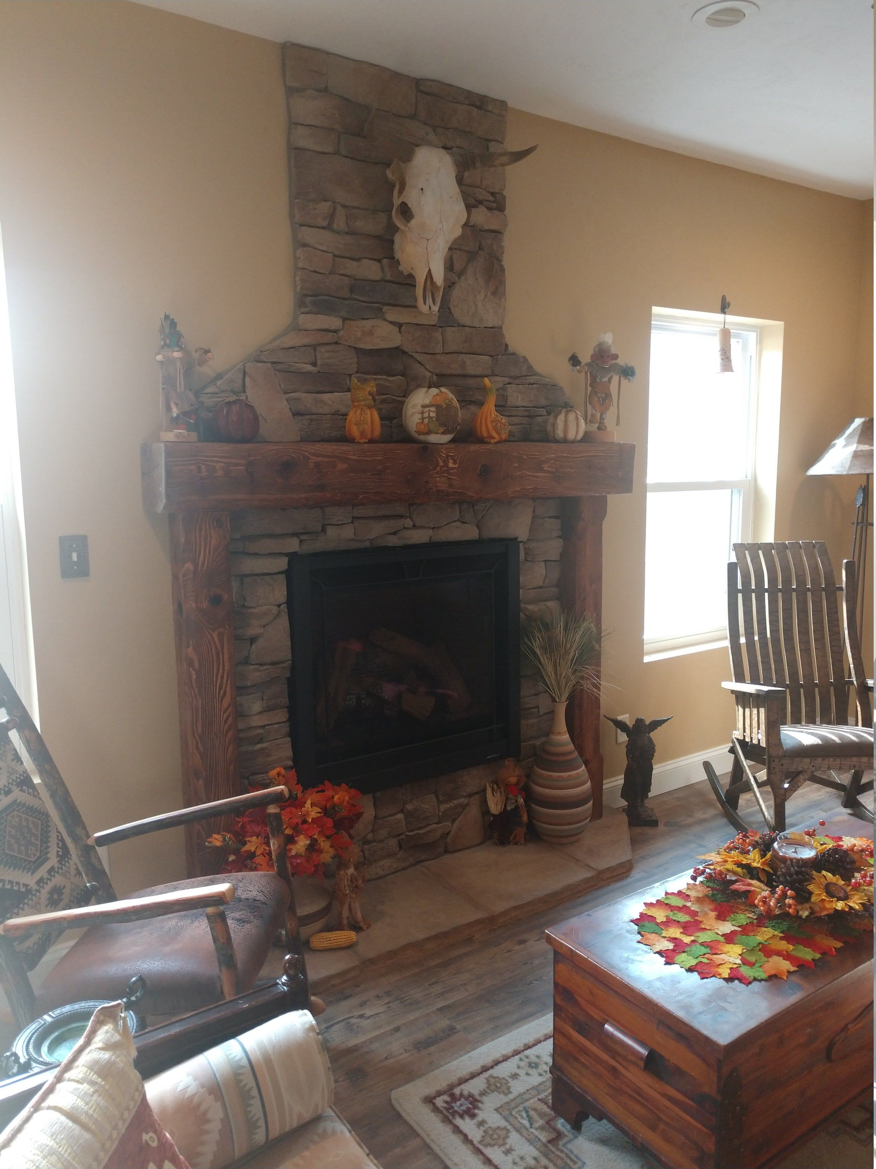 A Beautiful Rustic Spruce Fireplace Mantel With Legs Made From Reclaimed Spruce Wood The Mantel Is From An 8 X 8 Spr In 2019 Fireplace Mantels Wood Beams Wood