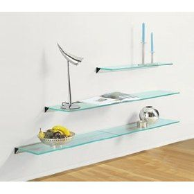 Frosted Glass Floating Shelves for Small Office Wall