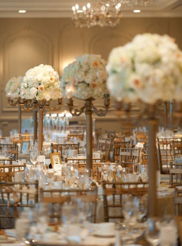 Gold wedding reception ideas tall centerpiece