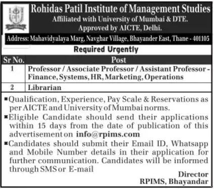 Rohidas Patil Institute Of Management Studies Urgently Required