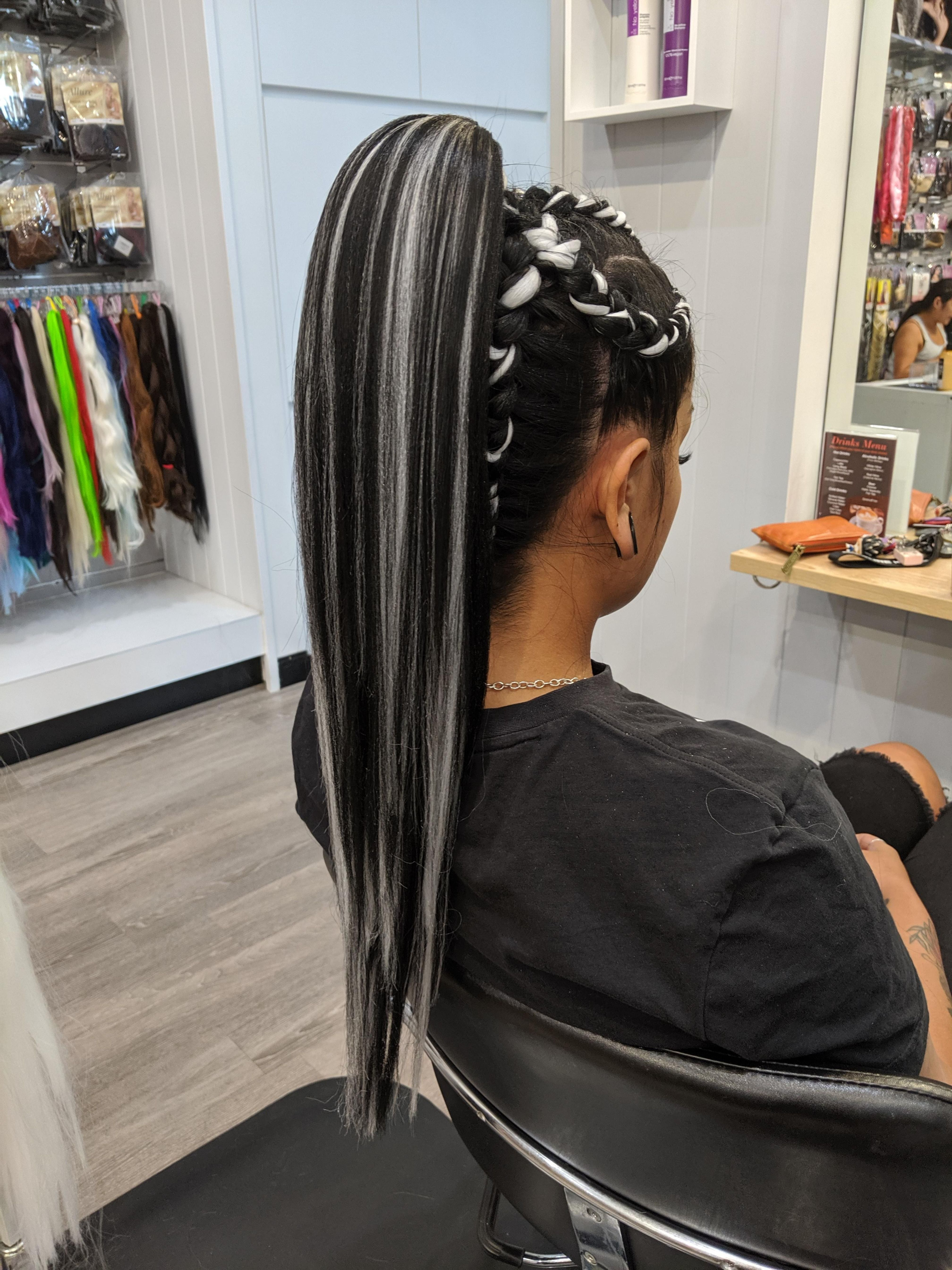 Braided Ponytail Extension Braids With Extensions Colored Hair Extensions Allure Hair