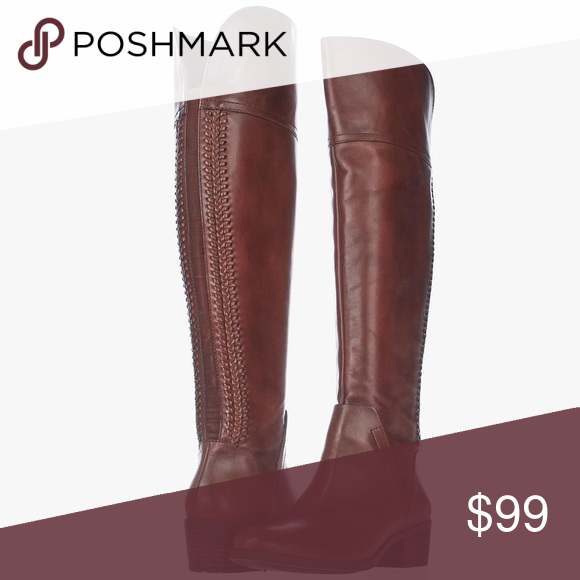 93c89706238 Vince Camuto Bendra Boots Vince Camuto Bendra Over the knee Boots. In a  warm medium brown real leather. Braid detail at back of calf and metal band  on heel.