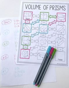 Volume of Prisms Maze | math challenges middle school ...