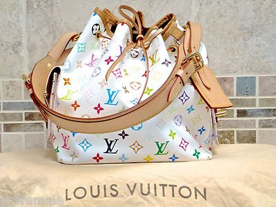 122e6f649f33 100% Auth Louis Vuitton White Multicolor Petit Noe Bucket Bag Purse MPRS   1795 or best offer!