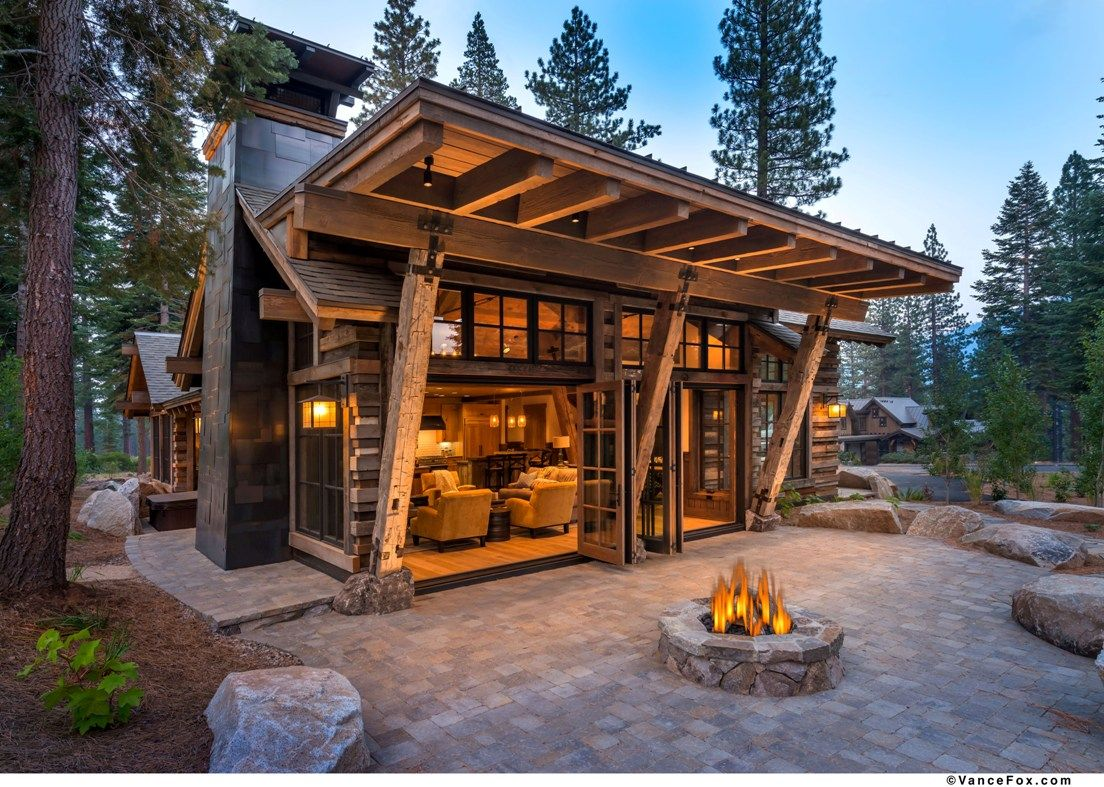 Mountain home featuring stunning reclaimed wood exterior for Contemporary log home plans