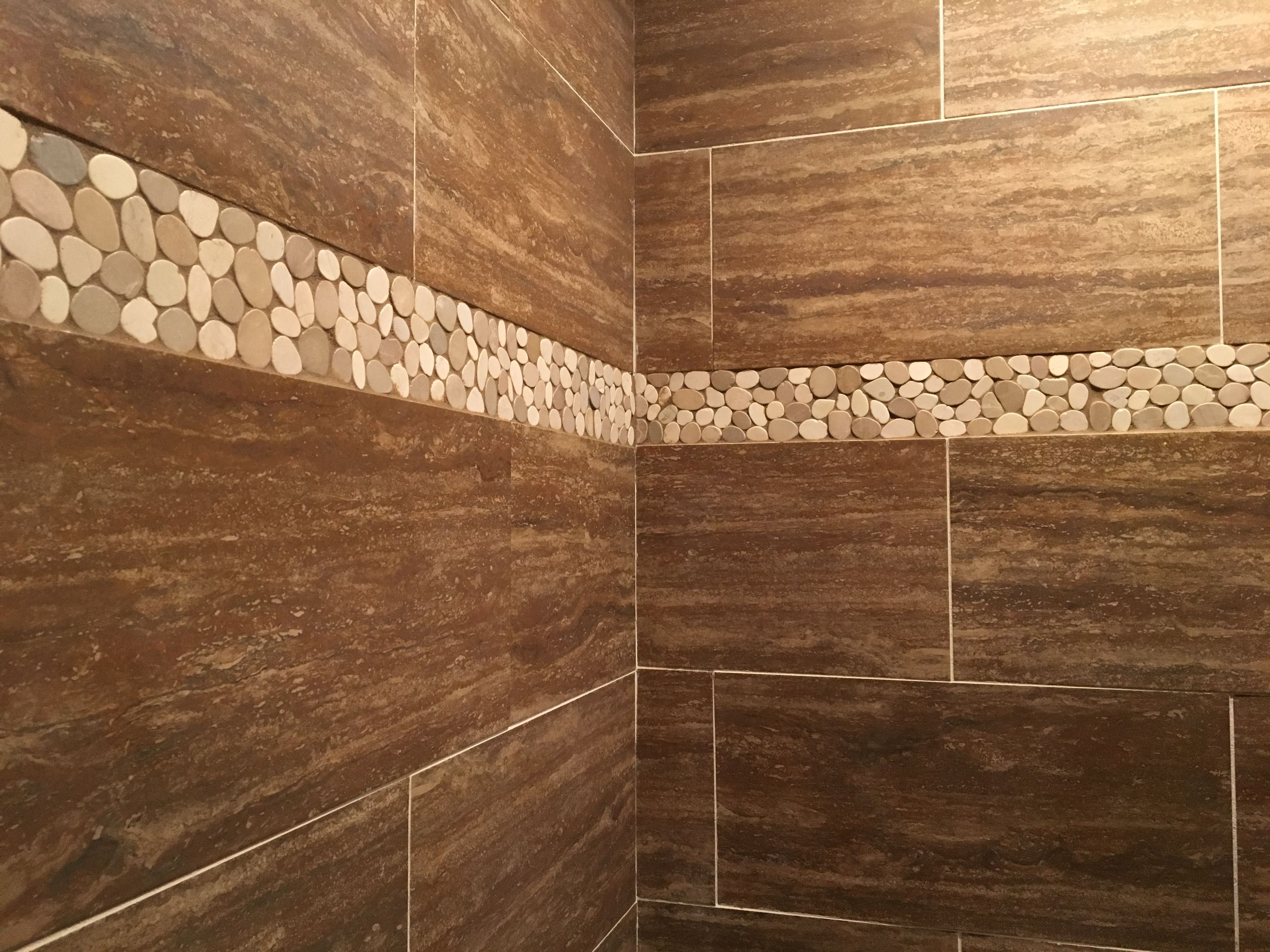 Stunning Shower Accent Strip Using Sliced Java Tan And