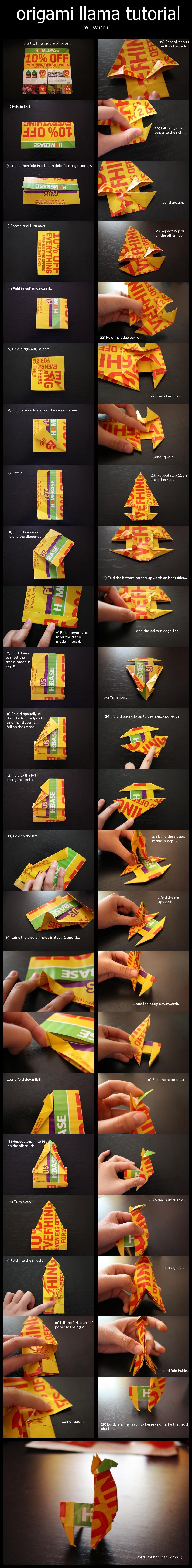 Origami Llama Tutorial By Synconi On Deviantart Art Pinterest