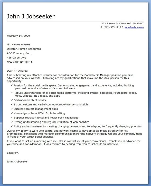 social media manager cover letter sample - Media Cover Letter Sample