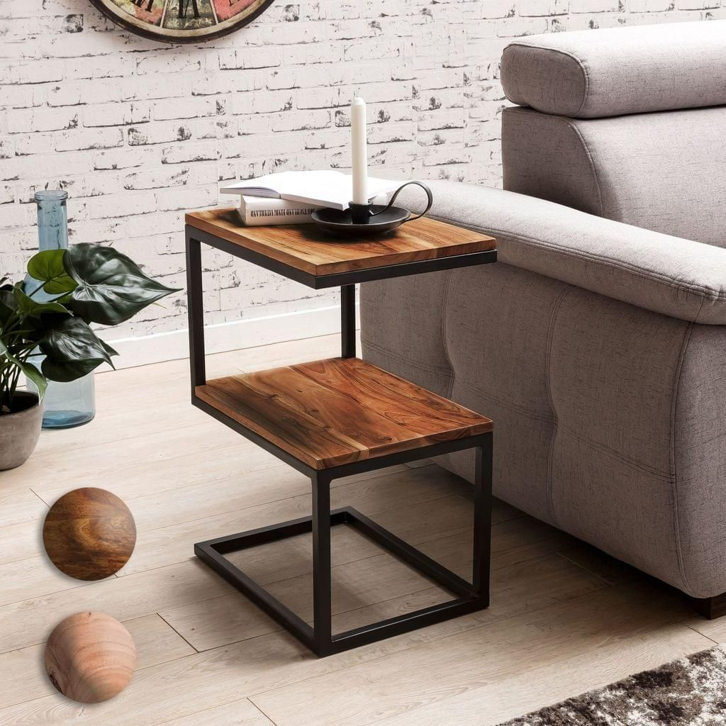 Design Anstelltisch In Form Eines S Moderner Beistelltisch Mit Metallgestellnaturliche Maserung Des Edelholzeszw Beistelltische Wohnzimmertische Beistelltisch