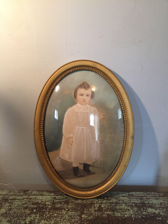 Antique pastel portrait with convex bubble glass and ornate round antique pastel portrait with convex bubble glass and ornate round frame pastel portrait of small jeuxipadfo Images