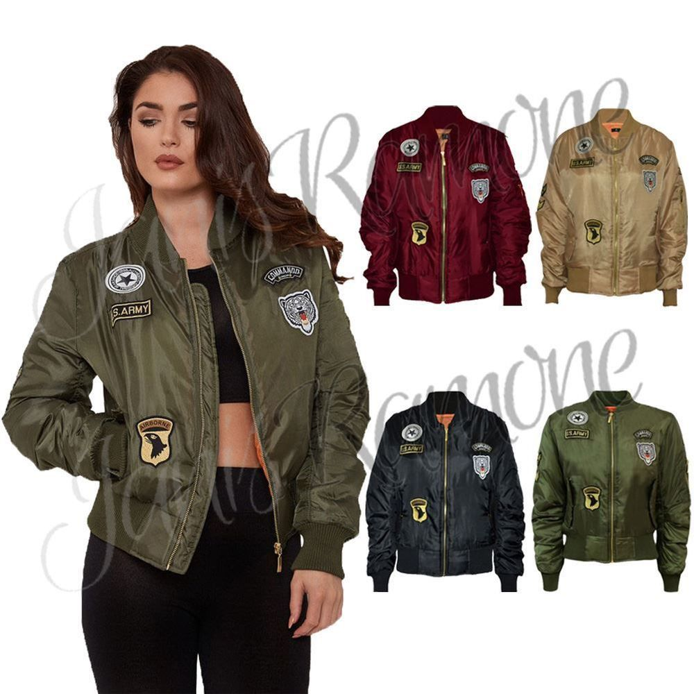 New Ladies Womens Combat Badge Airforce Bomber Jacket Us Army Vintage Biker Coat [ 1000 x 1000 Pixel ]
