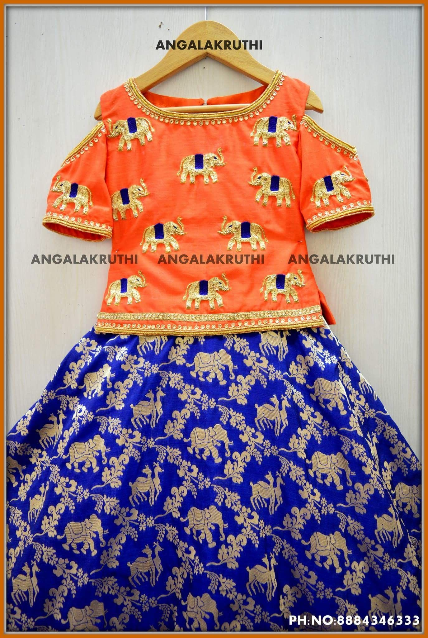 Hand embroidery designs for kids frock by angalakruthi boutique