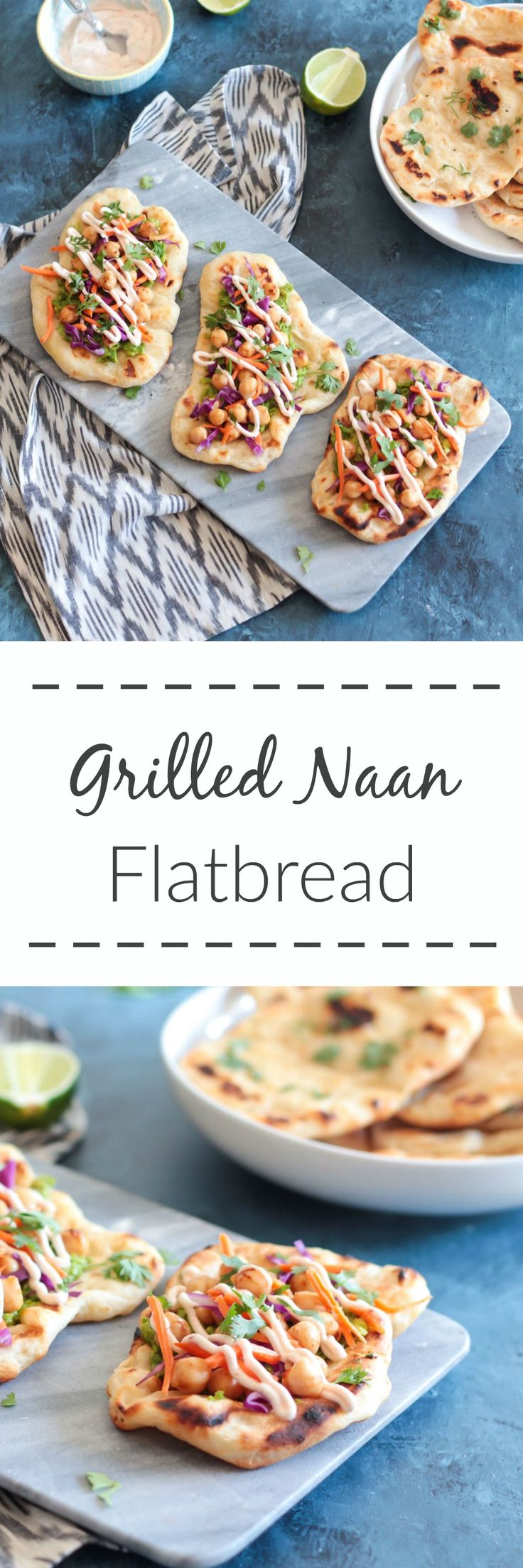 This homemade grilled naan flatbread is SO worth making from scratch, and loaded with yummy toppings like chickpea, avocado and a spicy Harissa yogurt.
