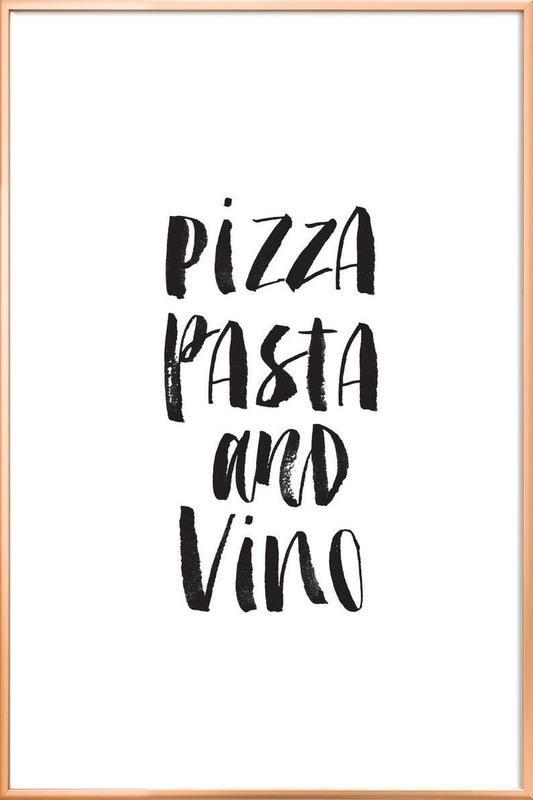 Pizza pasta and vino en affiche sous cadre en aluminium juniqe