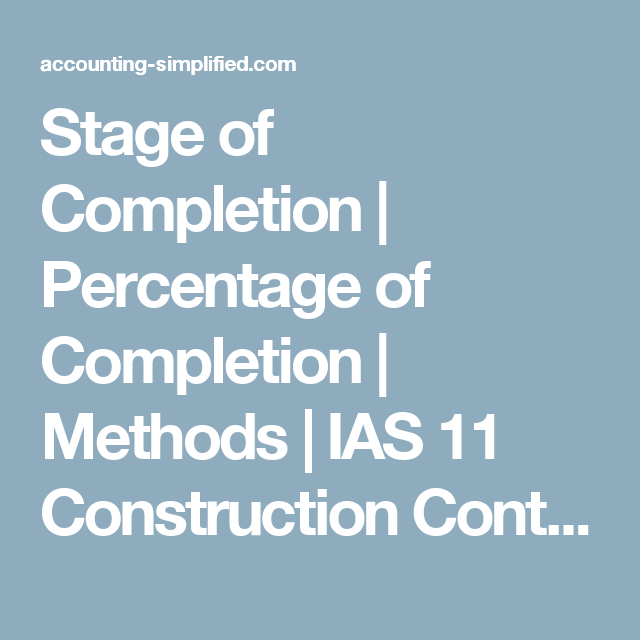 Stage Of Completion  Percentage Of Completion  Methods  Ias